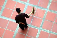 Sweeping (KC Toh) Tags: floor bloom sweep 红色 sweeping redtiles 扫地 地砖 扫把