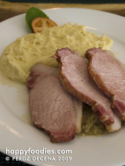 Smoked Porkloin on Sauerkraut with  Mashed Potato (Php 391)