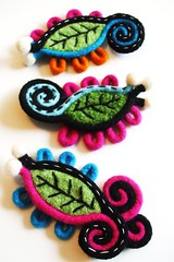 Time to make some brooches... (woolly  fabulous) Tags: wool leaves felted hojas colorful pin recycled handmade brooch jewelry felt corsage feuilles reclaimed accessory