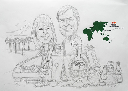 Couple caricatures for Mastercard Mr & Mrs Sekulic detail pencil sketch (revised 1)