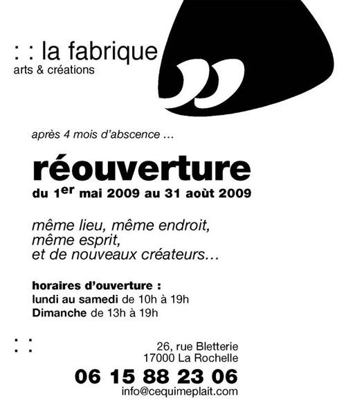 Flyer Boutique La Fabrique à La Rochelle