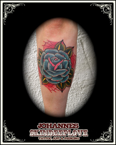 old school blue rose tattooed by johannes skindeeplove, (please do not steal