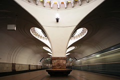 K. N. Iakovlev, V. G. Polikarpova, V. M. Andreev, Sokol Metro Station, Moscow. Opened in 1938 (rpa2101) Tags: light motion blur green architecture modern train canon underground subway long exposure metro russia moscow low line soviet 5d 24mm tse   sokol        andreen       iakovlev polikarpova