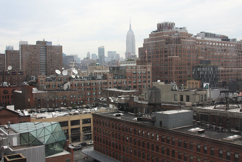 View from hotel, geodesic dome and Empire State Building