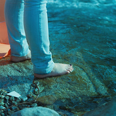 in dementia. (kaleakte) Tags: blue test feet water analog river square kodakportra160vc mamiyam645 indementia