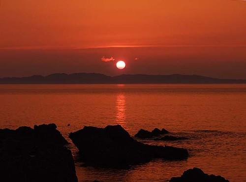 笹川流れの夕焼け