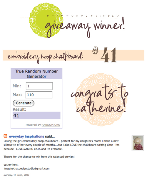 giveaway: winner!