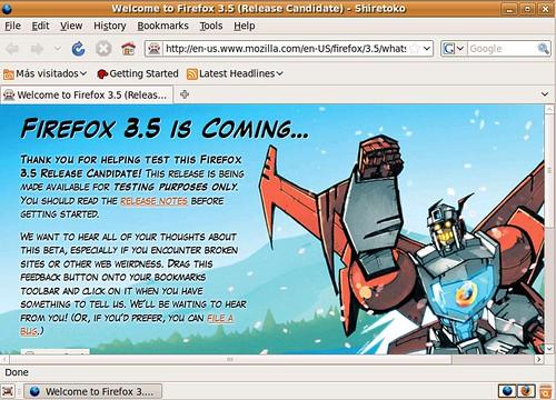Pantalla Firefox 3.5 Beta Ubuntu