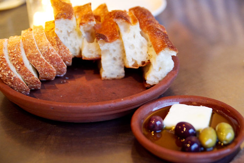 bread, butter, olive oil, olives