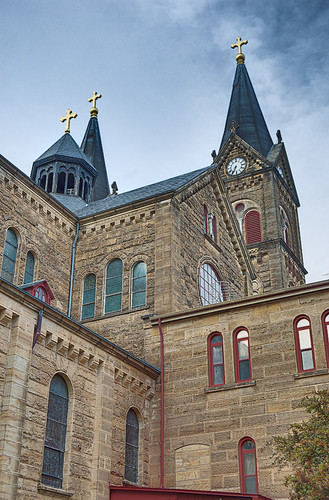 Saint Meinrad Archabbey, in Saint Meinrad, Indiana, USA - looking up the exterior of the church