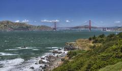 Golden Gate Bridge (Thad Roan - Bridgepix) Tags: ocean sanfrancisco california park bridge cliff mountain tree beach water grass rock sailboat landscape bay boat photo suspension windy landmark landsend shore goldengate span 201005 bridging bridgepixing bridgepix