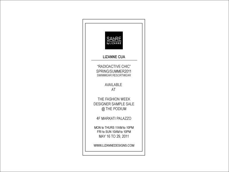 LIZANNE CUA HOLIDAY 2011 SAMPLE SALE NOTICE