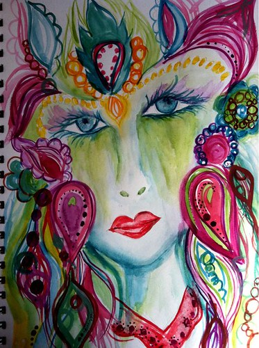 a page from my art journal..my latest face