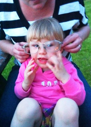 Zo with Uncle Morley's safety glasses
