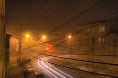 Foggy San Francisco Night (Russell Roesner) Tags: sanfrancisco street longexposure winter cold fog night headlights powerlines
