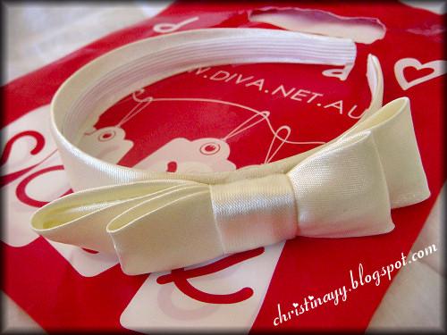 Pearl White Ribbon Hairband