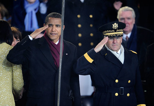 Inauguration Day 2009: Obama salutes from the reviewing stand by USA TODAY.