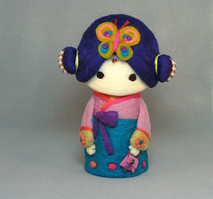 Hanbok Korean Cutie Girl (YuYuArt) Tags: sculpture baby cute art girl children toy doll softie korean hanbok handcrafted hangbag