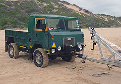 FC Land Rover on beach at Coconut Bay, Mozambique 2