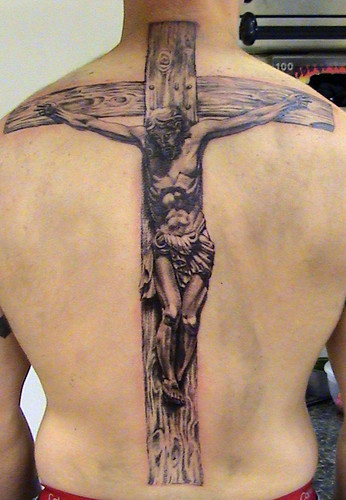 Religious tattoo of Jesus On The Cross tattoo by Mirek vel Stotker;