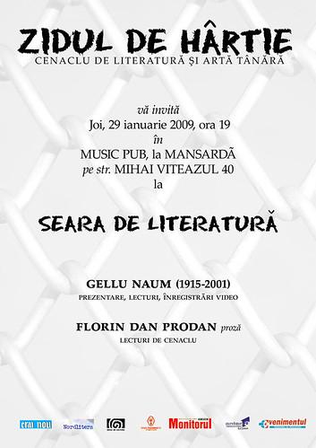 29 Ianuarie 2009 » Seara de literatură