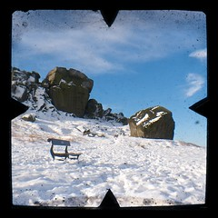 Cow and Calf (ibecks) Tags: snow rock bench cow voigtlander moor calf brilliant ilkley cowandcalf ttv rombalds