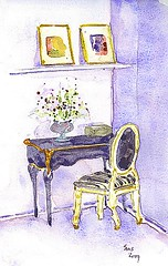 A woman must have money and a room of her own  (-Virginia Woolf) (loveitaly) Tags: flowers art moleskine watercolor painting sketch chair desk room journal