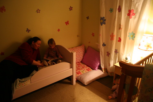 Me reading Samantha a bedtime story on her first night in her big girl room!