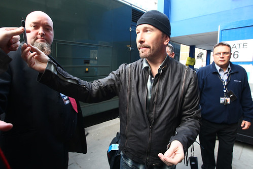 U2 arrive at BBC Radio 1