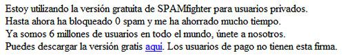 Captura de firma de correo electrónico usando SPAMFighter que ha bloqueado 0 spam