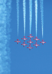 Nosediving Nine - RCAF Snowbirds (photohstock) Tags: red speed plane stripes aircraft flight descent bluesky formation jetstream precision descend teamwork skill rcaf precise fighterjet nosedive canadianairforce