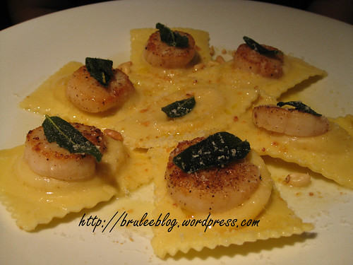 scallops and butternut squash ravioli
