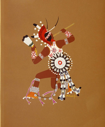 027-Arte indio Kiowa-Danza guerrera-acuarela pintada por los indios de Oklahoma 1929