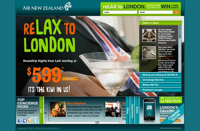reLAX to London Campaign Air New Zealand Microsite by tenfour archive