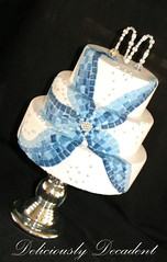 mosaic cake (Deliciously Decadent (Taya)) Tags: blue wedding white flower cake silver tile mosaic cachous dragrees