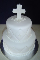 Alexa's Communion Cake- white on white (It's All About the Cake) Tags: flowers cake monogram pearls quilted communion whiteonwhite fondant diamondpattern