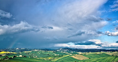 Sky,Clouds and.. (Gianluca, very busy!) Tags: blue sky italy panorama green clouds rural landscape italia nuvole bluesky hills arcobaleno marche jesi ciccio colline