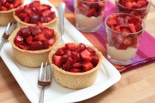 Petits desserts aux fraises