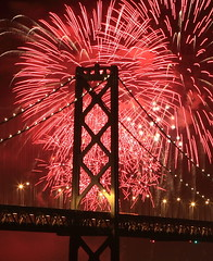 KFOG KABOOM 2009 (A Sutanto) Tags: sf sanfrancisco california ca bridge red usa tower night america lights fireworks kaboom 09 baybridge 2009 span kfog