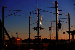 RR Dusk (Professor Bop) Tags: railroad sunset station railway signals amtrak wires olympuse300 nec catenary northeastcorridor newlondonconnecticut professorbop