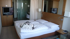 Park Inn hotel room (Otomodachi) Tags: snowflake city snow berlin television germany bag airplane shower deutschland snowflakes hotel tv bed europa europe pattern room sneeuw t