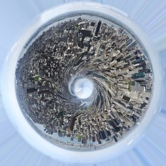 Metropolis Globe New York (Werner Kunz) Tags: world city nyc trip travel vacation urban panorama usa holiday ny newyork skyline america photoshop ball town us glo