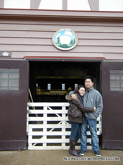 Rachel and I in front of the shed