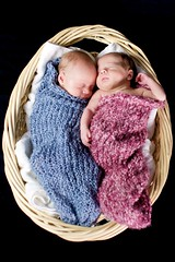 A Tisket a Tasket, Its Twins! In a Basket! (rockess) Tags: pink blue boy baby 20d girl canon studio twins infant basket 28mm newborn pinkandblue client2 client1