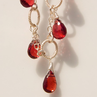 Garnet with Braided Sterling Silver Rings Handmade Necklace