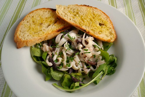Calamari Noodles with Olives and Arugula