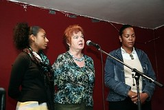 Pat Coker (centre) - mother of Paul Coker