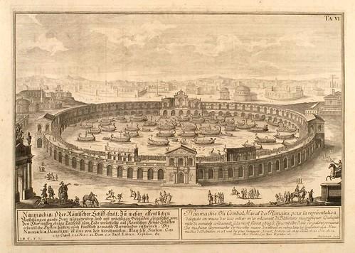 013-La Naumachie o combate naval de los romanos-Entwurf einer historischen Architektur 1721- © Universitätsbibliothek Heidelberg