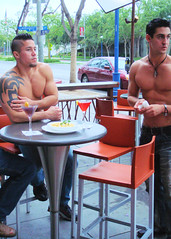 KTLA 214 (danimaniacs) Tags: shirtless man hot sexy male guy pecs tattoo bar club ink colorful nipple drink muscular bare chest hunk jeans cocktail denim westhollywood navel abs sixpack mickys chicosangels johnnymarkoudakis andysantiago