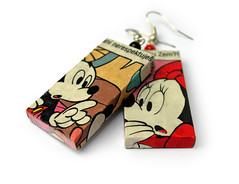 Comix Earings Detail (weggart) Tags: disney comix earrings offbeat alternativematerialjewelry weggart mickeymousehandmade